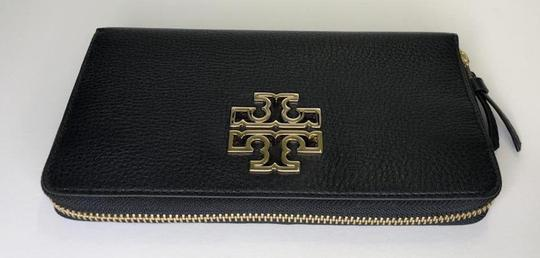 Tory Burch Tory Burch BRITTEN Zip Continental Wallet Pebbled Leather Black Image 2