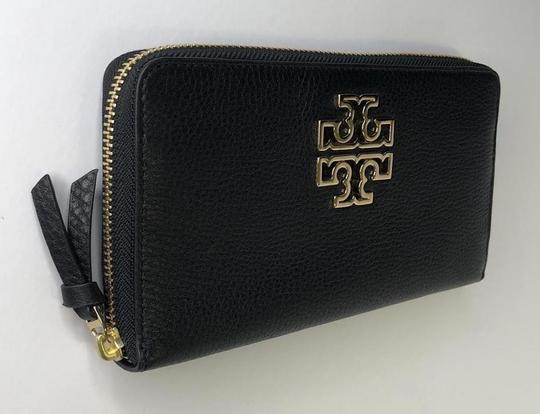 Tory Burch Tory Burch BRITTEN Zip Continental Wallet Pebbled Leather Black Image 4