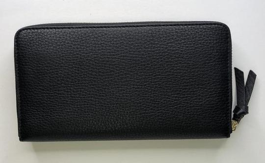 Tory Burch Tory Burch BRITTEN Zip Continental Wallet Pebbled Leather Black Image 6