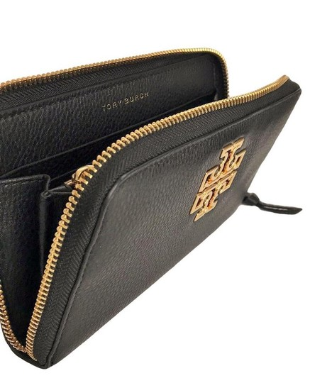 Tory Burch Tory Burch BRITTEN Zip Continental Wallet Pebbled Leather Black Image 5