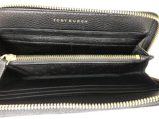 Tory Burch Tory Burch BRITTEN Zip Continental Wallet Pebbled Leather Black Image 9