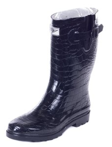 Forever Young Rubber Wellies Galoshes Rainboots Rain Black Croco Boots