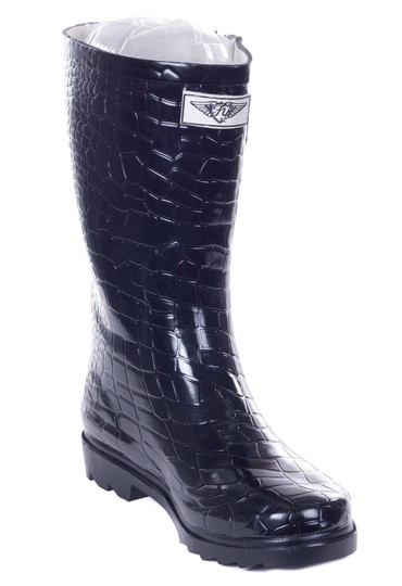 Forever Young Rubber Wellies Galoshes Rainboots Rain Black Croco Boots Image 1