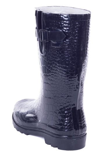 Forever Young Rubber Wellies Galoshes Rainboots Rain Black Croco Boots Image 3