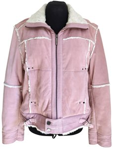 Black Rivet Suede Winter Suede Powder Pink Leather Jacket