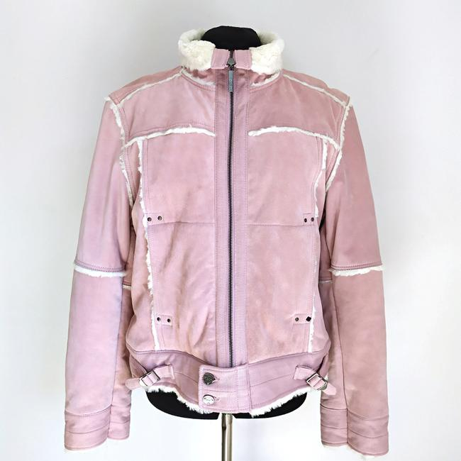 Black Rivet Suede Winter Suede Powder Pink Leather Jacket Image 1