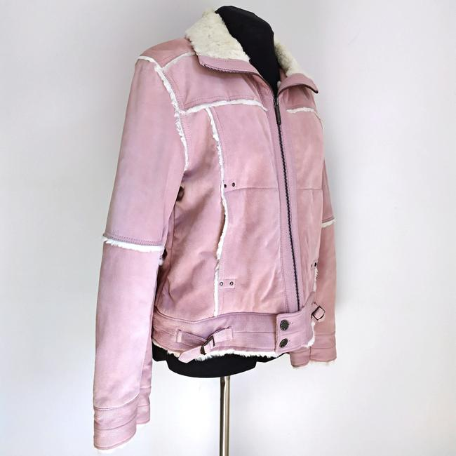 Black Rivet Suede Winter Suede Powder Pink Leather Jacket Image 2