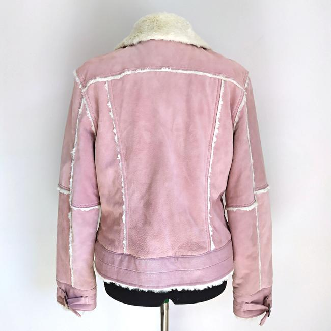Black Rivet Suede Winter Suede Powder Pink Leather Jacket Image 3
