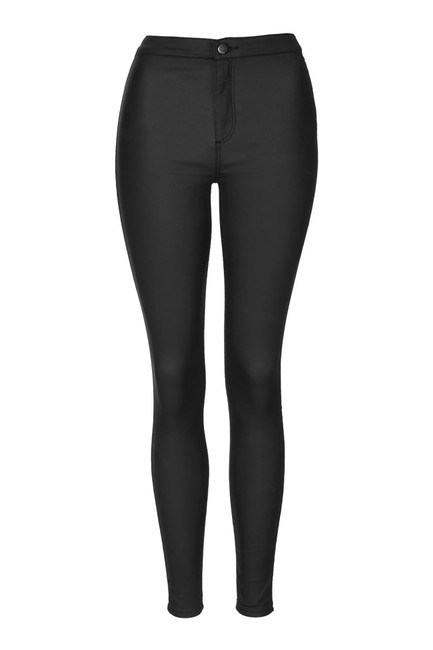 Topshop High Rise Coated Skinny Jeans-Coated Image 3