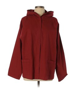 Eileen Fisher Active Hooded Top Cotton Red Jacket