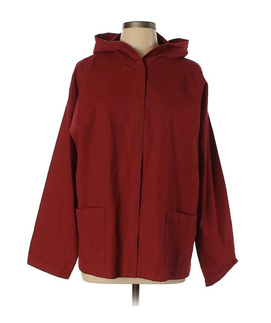 Eileen Fisher Active Hooded Top Cotton Red Jacket Image 2