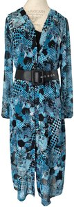 Joseph Ribkoff New With Tags Belted Shirt Printed Tunic Dress