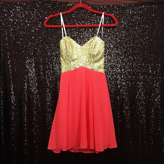 B. Darlin short dress Coral & Gold on Tradesy Image 1
