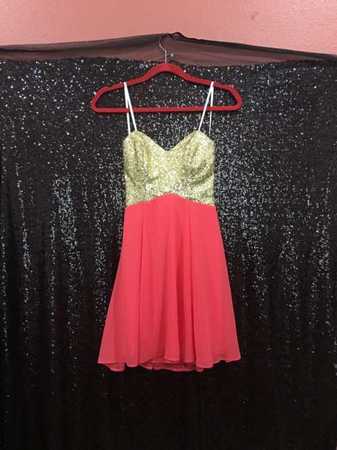 B. Darlin short dress Coral & Gold on Tradesy Image 3