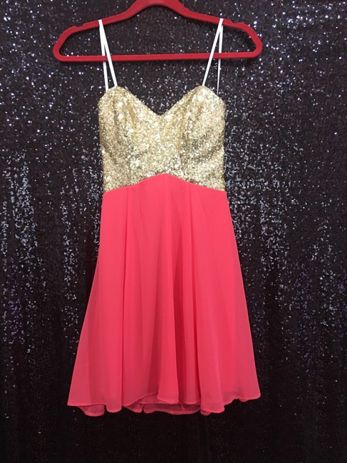 B. Darlin short dress Coral & Gold on Tradesy Image 4