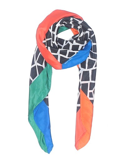 Albert Nipon Vintage Silk Color Blocked Geometric print Scarf Image 1