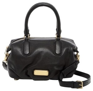 Marc by Marc Jacobs Gold Hardware Leather Suede Satchel in Black