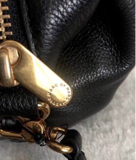 Marc by Marc Jacobs Gold Hardware Leather Suede Satchel in Black Image 3