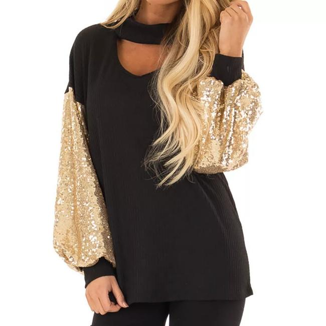 Preload https://item2.tradesy.com/images/black-and-gold-women-s-sequined-bat-sleeve-party-blouse-size-8-m-26455216-0-1.jpg?width=400&height=650