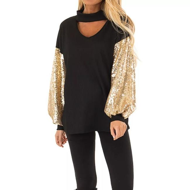 Preload https://item1.tradesy.com/images/black-and-gold-women-s-sequined-bat-sleeve-blouse-size-12-l-26455230-0-1.jpg?width=400&height=650