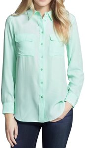 Equipment Silk Hollywood Date Night Night Out Party Top Ice Green