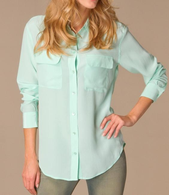 Equipment Silk Hollywood Date Night Night Out Party Top Ice Green Image 2