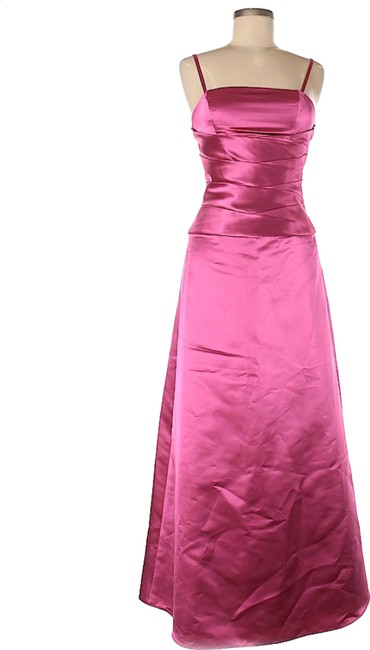 Item - Magenta Satin Fit and Flare Gown Long Cocktail Dress Size 4 (S)