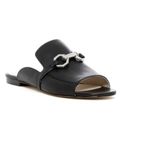 Louise et Cie Silver Hardware Leather Black Flats