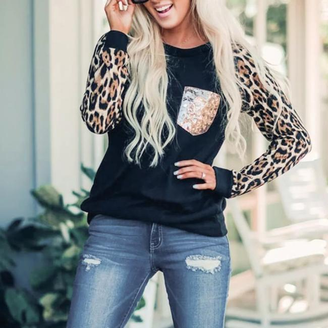 Preload https://item2.tradesy.com/images/womens-o-neck-long-sleeved-sequined-print-blouse-m-black-and-leopard-sweater-26455296-0-2.jpg?width=400&height=650