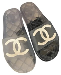 Chanel Clear and White Sandals