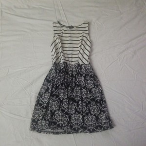 Xhilaration short dress White black stripes/white black print on Tradesy