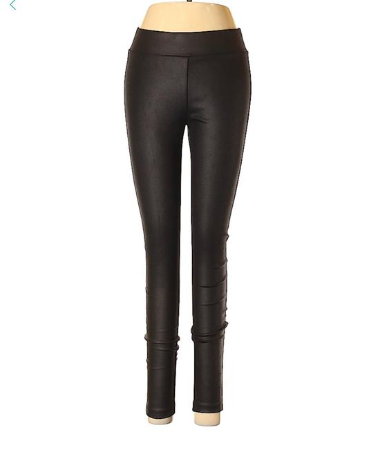 Matty M Tights Pants Faux Leather Look Black Leggings Image 2