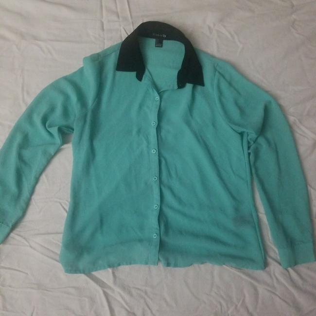 Preload https://img-static.tradesy.com/item/26455397/forever-21-turquoise-with-black-collar-button-down-blouse-size-4-s-0-0-650-650.jpg