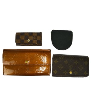 Louis Vuitton Authentic LOUIS VUITTON 4 Set Wallet Key Case Monogram Taiga Vernis