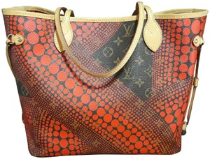 Louis Vuitton Yayoi Kusama Limited Edition Waves Dots Neverfull Tote in Red