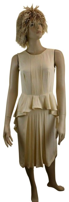Item - Champagne Silk Sleeveless Ruched Ruffle Long Cocktail Dress Size 6 (S)