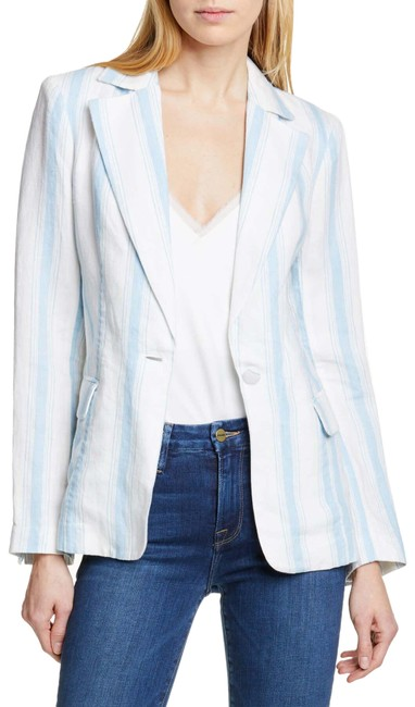 FRAME White/Blue Off and Stripe Linen Blazer Size 4 (S) FRAME White/Blue Off and Stripe Linen Blazer Size 4 (S) Image 1