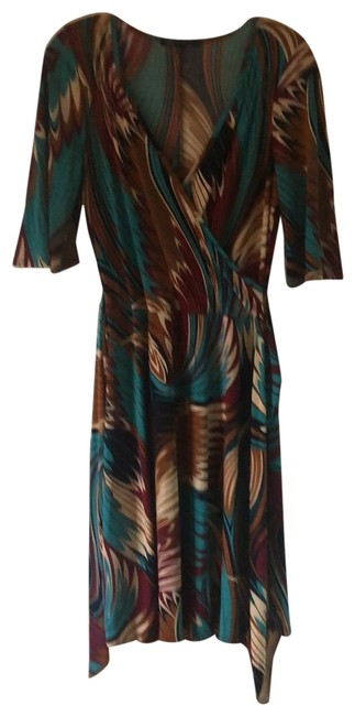 Item - Teals and Browns Unknown Mid-length Work/Office Dress Size 12 (L)