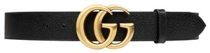 Gucci NEW Gucci Double G Marmont Black Grained Gold HW Sz 85 cm
