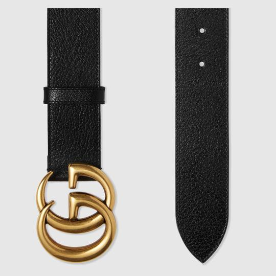 Gucci NEW Gucci Double G Marmont Black Grained Gold HW Sz 85 cm Image 1