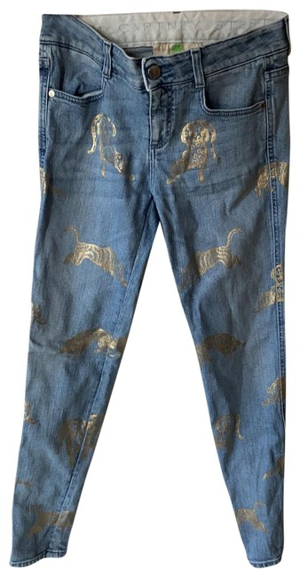 Item - Blue and Gold Light Wash Skinny Jeans Size 4 (S, 27)