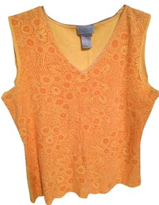 Sigrid Olsen Top Outrageous Orange and Yellow Print