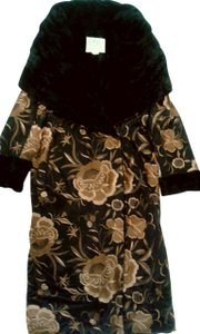 Norma Kamali Vintage Embroidered Retro Silk Velvet Coat