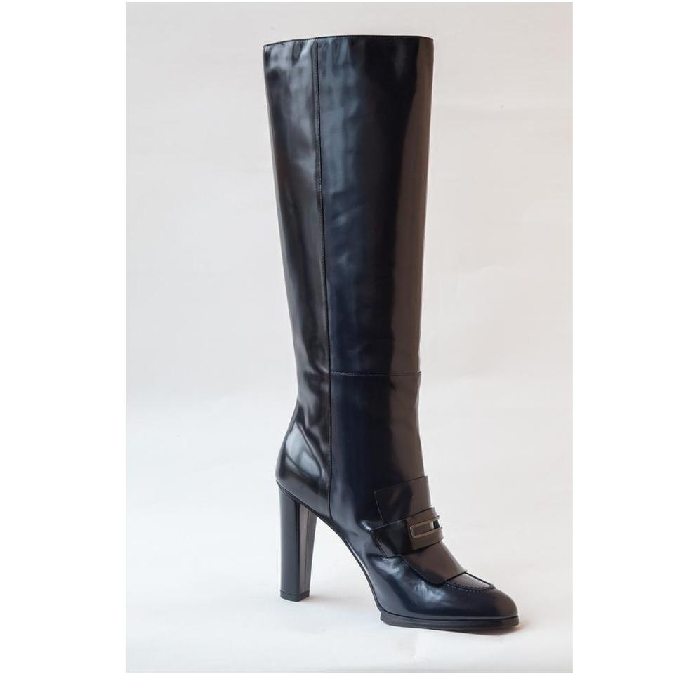best sneakers incredible prices on feet shots of Balenciaga Navy Blue Knee High Patent Leather New 8 Boots/Booties ...
