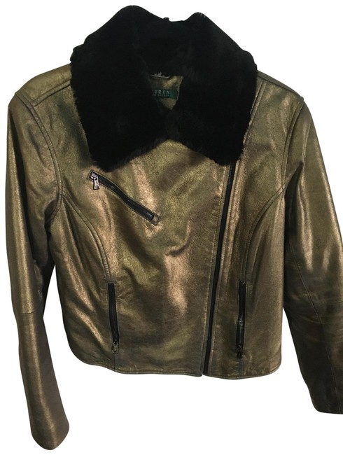 Item - Matte Gold Quilted Leather Jacket Size 10 (M)