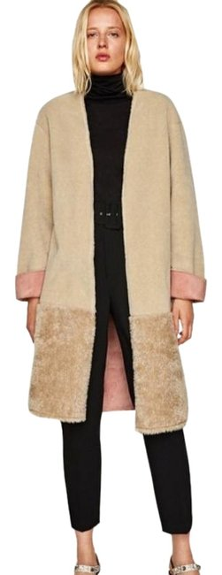 Item - Cream Pink Double Sided Effect Beige Large Without Tags Coat Size 6 (S)