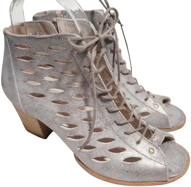 Item - Silver Gray Bali Lace-up Zip Bootie Metallic Leather Sandals Size US 6.5 Regular (M, B)