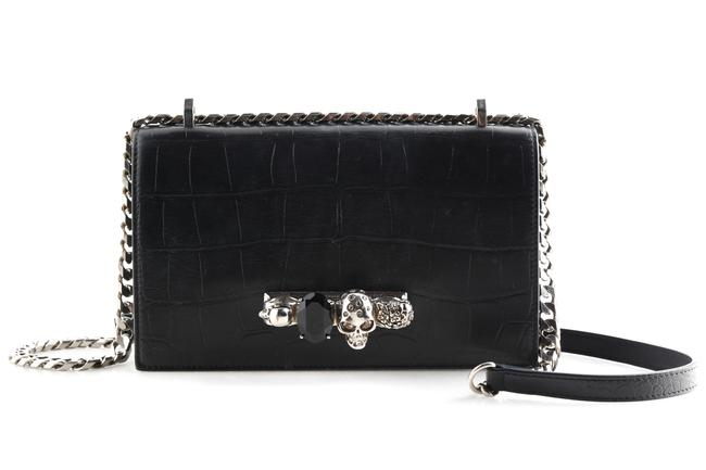 Item - Shoulder Bag Shiny Croc-embossed Jeweled Black Calfskin Leather Satchel