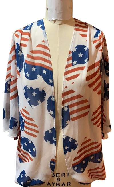 Item - Red/White/Blue Kimono Heart Duster Cover-up/Sarong Size 4 (S)
