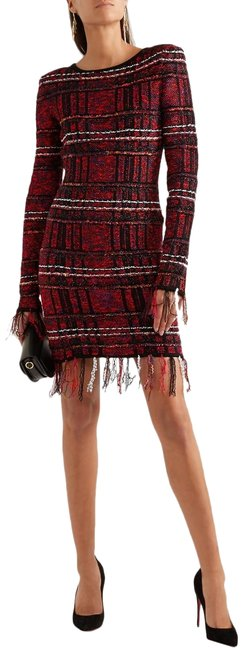 Item - Red Checked Tweed Frayed Fringe Hem Long Sleeve Mid-length Cocktail Dress Size 14 (L)